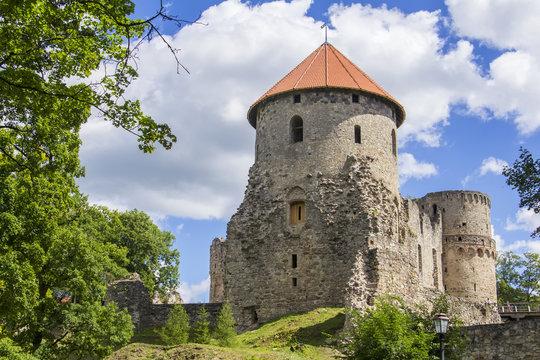 background landscape Cesu Pills ancient castle in Cesis in Latvia
