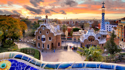 Barcelona at sunset, park Guell, nobody