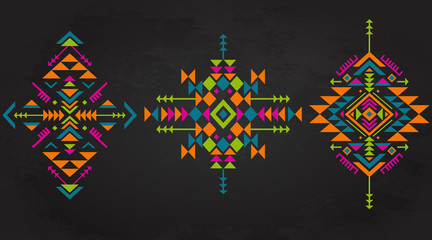 Set of three colorful ethnic pattern elements with geometric shapes.