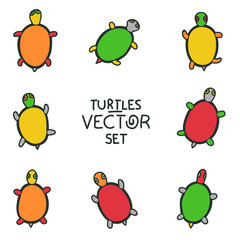 Cartoon turtles set - vector animal collection
