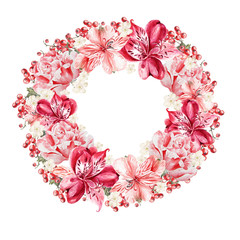 Beautiful watercolor wreath with flowers alstroemeria and berries currant . Illustrations