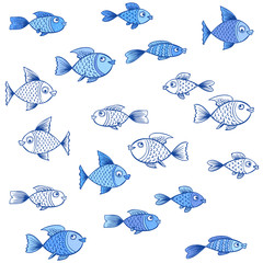 Funny sea pattern with fish. Hand drawing illustration.