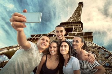 Self of Group friends on the one of the most popular travel plac