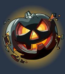 drawn cartoon Halloween pumpkin falling apart