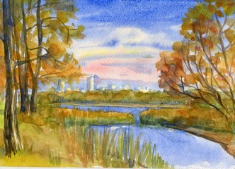 Autumn landscape with trees on the river Bank. Watercolor painting