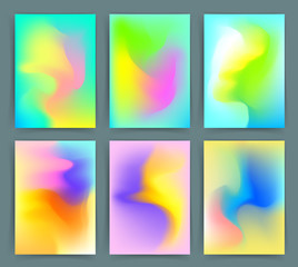 Fluorescent colors backgrounds set. Holographic effect. Applicable for gift card,cover,poster,brochure,magazine. Vector template.