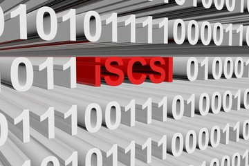 iSCSI in the form of binary code, 3D illustration