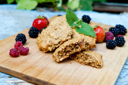 homemade oatmeal cookies for a healthy breakfast, close-up