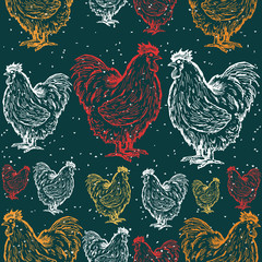 Roosters decorative seamless pattern symbol rooster new year 201