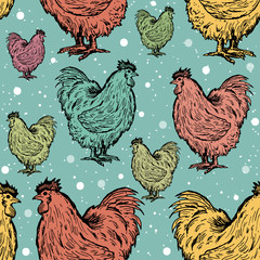 Roosters seamless pattern symbol of new year