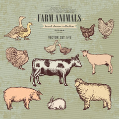 Farm animals vintage collection, cow, pig, goat, sheep, chicken