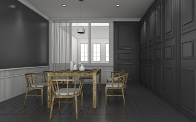 3d rendering dark classic dining room with wood dining set