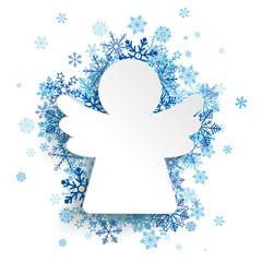 Christmas Angel Blue Snowflakes