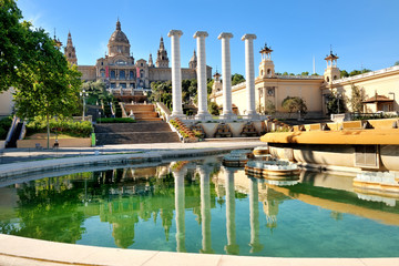 Barcelona, Spain - National art museum in Placa de Espanya