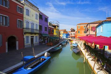 multicolored houses in Burano island. Venice. Italy.
