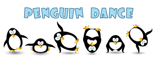 happy penguin dance at party
