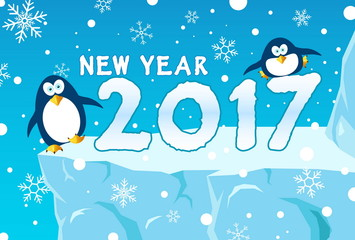 happy new year 2017 card, with penguin and snow