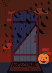 The entrance of the house with bats and pumpkins decorated for H
