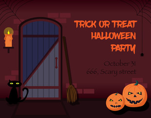 Trick or treat Halloween party invitation.
