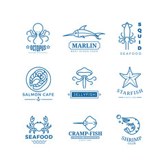 Seafood labels thin line vector logos, emblems