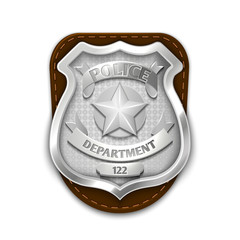 Silver steel police, security badge isolated on white background vector illustration