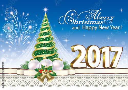 merry christmas and happy new year 2017 with christmas tree