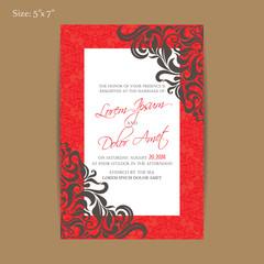 Luxury vintage wedding invitation card
