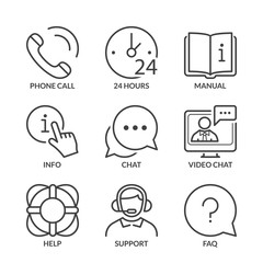 basic support thin line icons with text