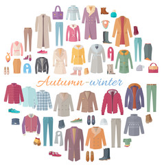 Autumn-Winter Clothes Collection Illustration