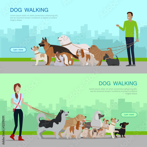 Quotprofessional dog walking service banners setquot stock for Professional dog walking service