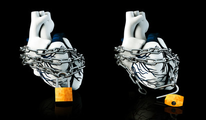 Illustraton Anatomy of Lock and Unlock Human Heart - Isolated on black