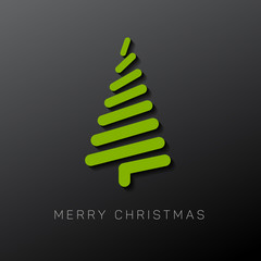 Modern vector christmas tree made from lines
