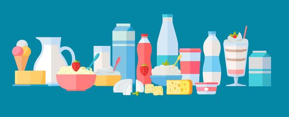 Set of Milk Products Vector Icons in Flat Design.