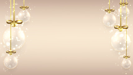Christmas background with glass balls. Elegant vector illustration for xmas design. Happy New Year background with gold bows and shining light.