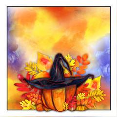 Watercolor Pumpkin Wearing Hat