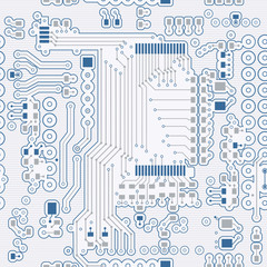 Seamless background of blue in the form of printed circuit board