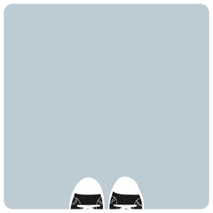 Fhoto frame with shoes at the foot, vector illustration