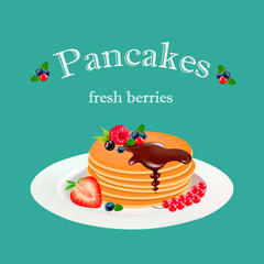 pancakes with chocolate and berries, vector graphics