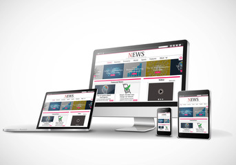 Digital devices with responsive news website Vector