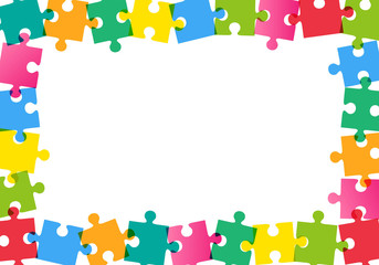Colorful puzzle frame on white background Vector