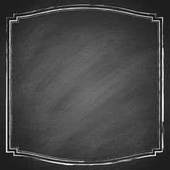 Retro grunge frame on chalkboard background. Vector illustration