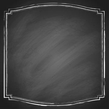 Retro grunge frame on chalkboard background. Vector illustration