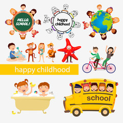 happy childhood , school, students , kids, vector art