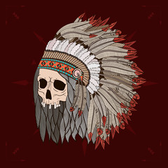 Indian skull , old skull , feather , vector graphics