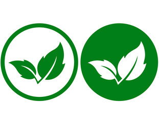 two green leaves icons