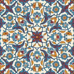 Tuinposter Marokkaanse Tegels Stylized flowers oriental wallpaper retro seamless abstract background vector, decoration tile print oriental tribal floral ornament paisley, arabesque floral pattern tile vintage