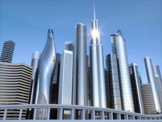 Skyscrapers city business center. 3d illustration