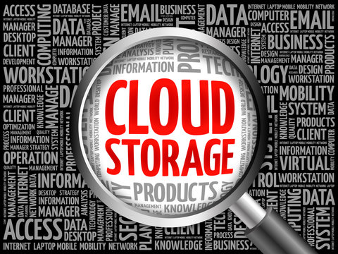 Cloud Storage word cloud with magnifying glass, business concept 3D illustration