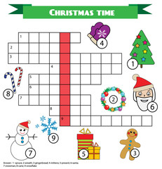 Crossword educational children game with answer. Christmas winter theme
