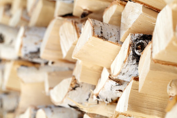 Close-up of firewood in stock